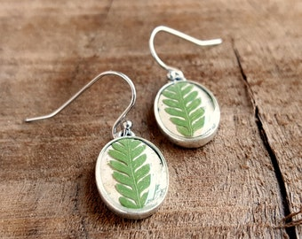 Real Fern Earrings - Fern Frond and Birch Bark Earrings  - Nature Jewelry - Green and Silver Dangle Earrings - Woodland Jewelry