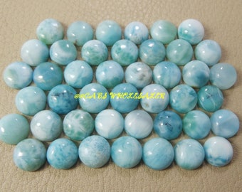 5 Pieces - Natural Larimar Smooth Round Shape Cabochons - 10 MM Size - Larimar Cabochons - High Quality - Wholesalegems