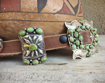 Native American Concho Belt Sterling Silver Green Turquoise, Navajo Unisex Belts