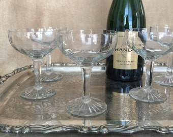 Champagne Coupes, Vintage Coupe, Pressed Glass, Optic Glass, Elegant, Wedding, Toasting Coupes, Glamour Barware, Bar Cart, Champagne Glasses