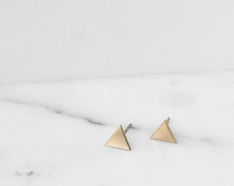 Geometric Studs, Triangle Studs, Minimal Studs, Little Geometric Earrings, Simple Gold Stud, Gold Triangle Studs, Silver Studs | SPIRE STUD