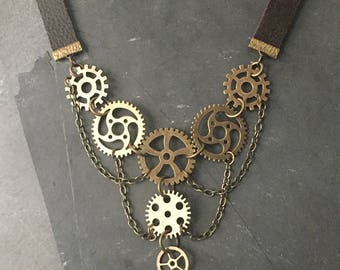 Steampunk Gears & Leather Necklace