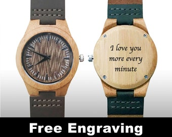 Groomsman Gifts, Wedding Gift, Engraved Watch, Wood Watch, Engraved Wood Watch, Wooden Watch, Dark Brown Leather Strap, Design #1