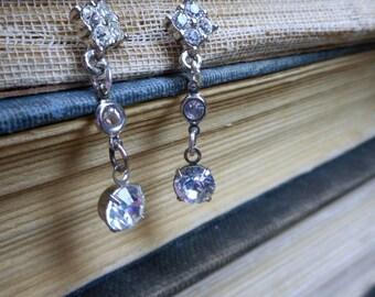 Diamante. Vintage Rhinestone Post & dangle earrings.