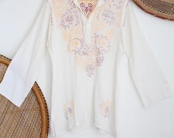 Vintage Off white floral embroidered indian cheesecloth boho cotton 70s smock gypsy midi dress S M