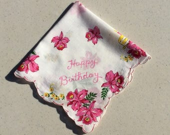 Vintage Hankie Happy Birthday Pink and Yellow Daffodils and Birthday Cake
