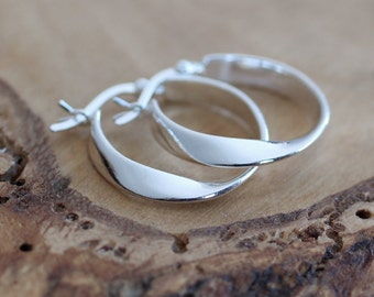Sterling Silver Twisted Hoop Earrings - Twist Earrings