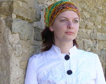 Hippie crochet head scarf, Multicolor lace bandana, Bamboo hair kerchief, fits many sizes