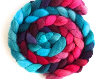 Sale: Falkland Wool Roving - Hand Dyed Spinning or Felting Fiber Fiber, Red Hot and Blue, 4 ounces