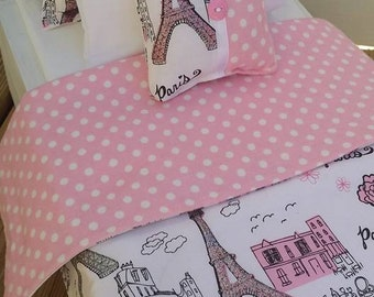 "18"" Doll Bedding Set, Paris Doll Bedding, Made to Fit 18"" Dolls Such as The American Girl Dolls"