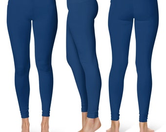 Indigo Leggings, Blue Yoga Pants for Women, Mid Rise Waist Workout Pants