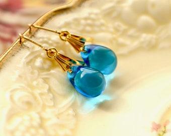 Capri blue teardrop earrings - Gold leverbacks