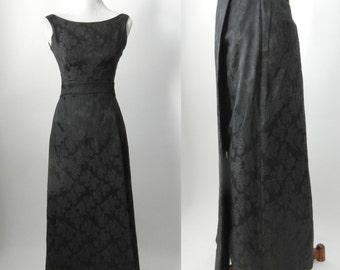 Vintage 1960s Black Damask Formal Gown Dress