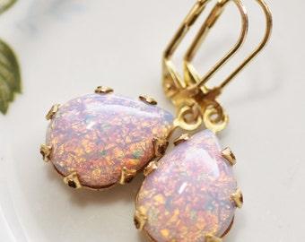 Vintage Pink Fire Opal Earrings,Teardrop,Vintage Brass Crown Setting,Glass Harlequin Opal,Pear Shaped,Heirloom,Opal Jewelry,Leverback,Estat