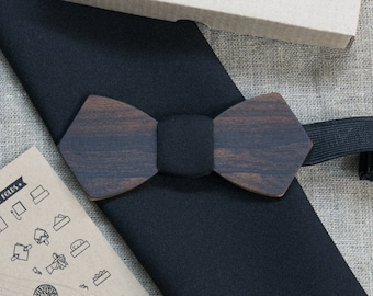 Ziricote Wood bowtie  Retro + color pocket square Personal engraving wooden bow ties. Men Accessories. 100% hand made. Best xmas /bday gift.