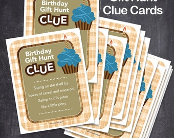 Birthday Gift Hunt Clue Cards - (12 CLUES) Instant download. Print ready digital files.