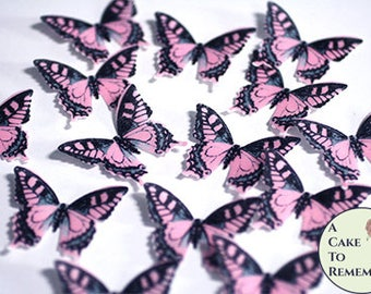 """28 pink edible butterflies, baby shower cake topper. 1.5"""" across. Baby girl birthday decor ideas. Pink butterfly cupcake toppers."""