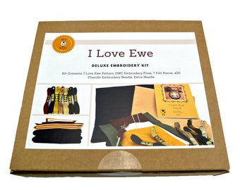 Wool Applique Kit, Wool Felt Applique, Penny Rug Kit, Embroidery Kit, Embroidery Pattern, Wool Applique, Felt Craft Kit, DIY Kit, I Love Ewe