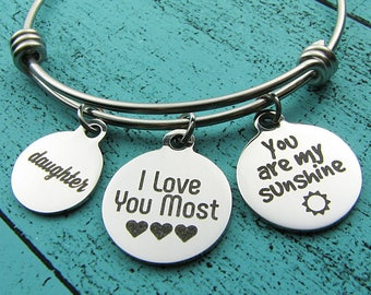 daughter gift, you are my sunshine bracelet, Christmas gift for daughter, birthday gift, graduation, I love you most, inspirational gift