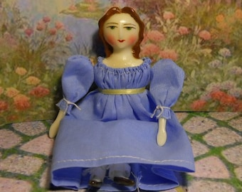 "Customized Miniature Doll -  6"" Regency Doll with Long Wavy Hair"