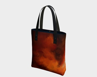Amber Fire 1, purse,bag,tote,hand painted,designer,makeup,bags,cases,suitcase,vegan leather,luggage,baby