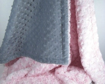 Light Pink and Gray Minky Dot Baby Blanket, Charcoal Gray and Pink Minky Dot baby Blanket, Pink Rose Swirl Baby Blanket,
