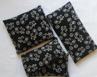 Elegent Black & White Scroll Fabric Microwavable Corn Bag Heating Pad w/ Removable Cover