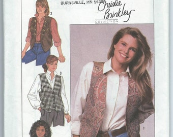 Simplicity 9373 Christie Brinkley Edition Misses' Lined Vests with Trim Variations - Size 6-8-10-12 - Uncut Vintage Pattern