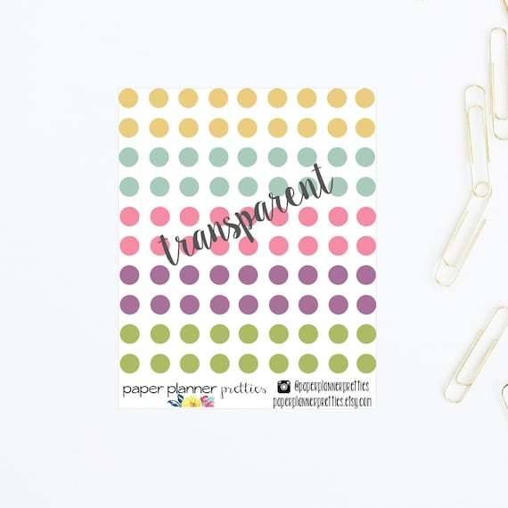 Transparent clear small round planner stickers dots bullet
