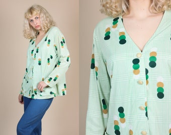 70s Circle Print Disco Top - XXL | Vintage Abstract Button Up Collared Blouse