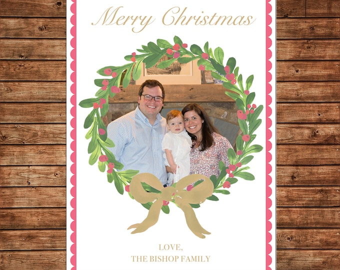 Christmas Holiday Photo Card Watercolor Wreath Gold Coral - Can Personalize - Printable File or Printed Cards