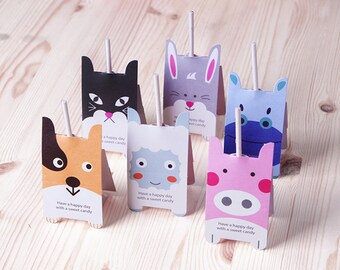 38-40pcs cute animals Lollipop paper holder wedding sweets favor packaging gift wrapping party supplies