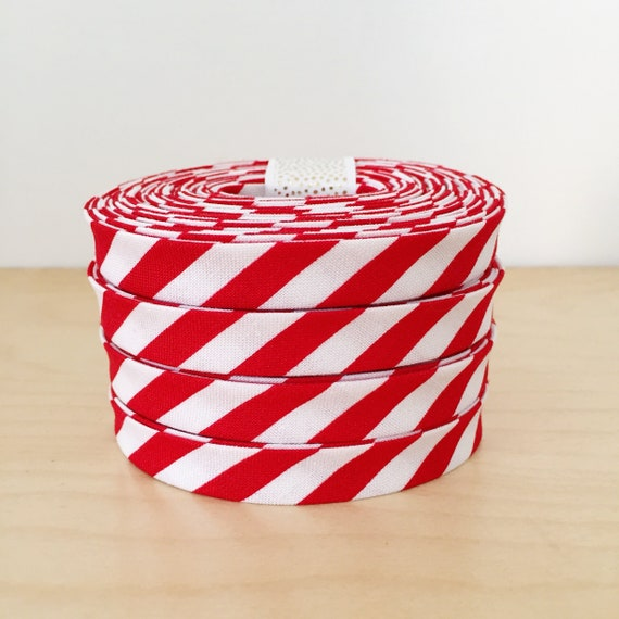 """Bias Tape in Riley Blake 1/4"""" red and white stripes- 1/2"""" double-fold binding- 3 yard roll"""