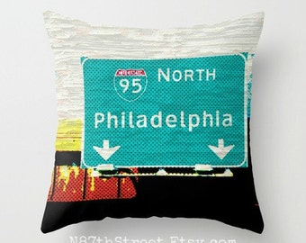 "N PHILADELPHIA 16x16"" Pillow Cover. Photo Art by TMCdesigns. Funky. Road Sign. Turqouise, Yellow, Red, Black. Travel. Teens. Philly fans."