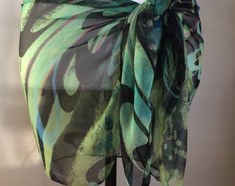 Tropical green and black sarong, pareo, swimsuit cover