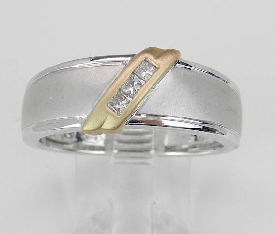 Mens Princess Cut Diamond Wedding Ring Gold Anniversary Band Size 10.25