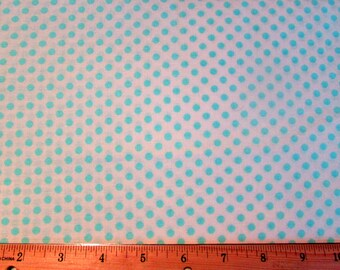 Sale White and Blue Polka Dot Fabric By the Yard