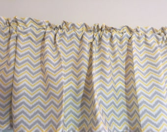 Yellow and Gray Chevron Valance ~ 64 Inches Wide ~ Gray and Yellow