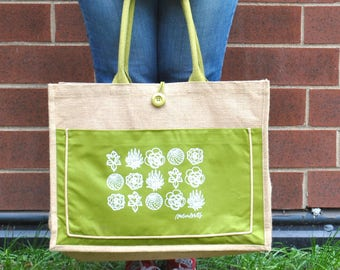 succulents jute tote bag // grocery bag // gardening bag // farmers market // birthday gift for her // mothers day present //
