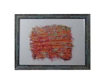 Wall art Abstract Mixed media textile: size A3 handmade