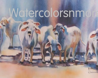 Cows, Brahman, Bulls, cattle, Watercolor, Print, 8.5 x 12.5, Home Decor, colorful  jewel tones