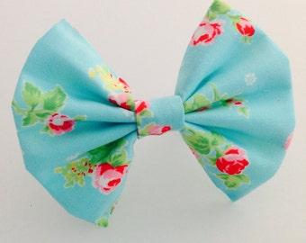 Aqua Floral hair bows