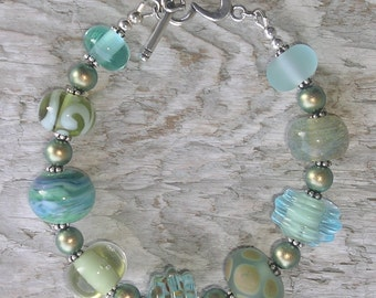 Handmade glass lampwork bead bracelet - Tropical Vacation