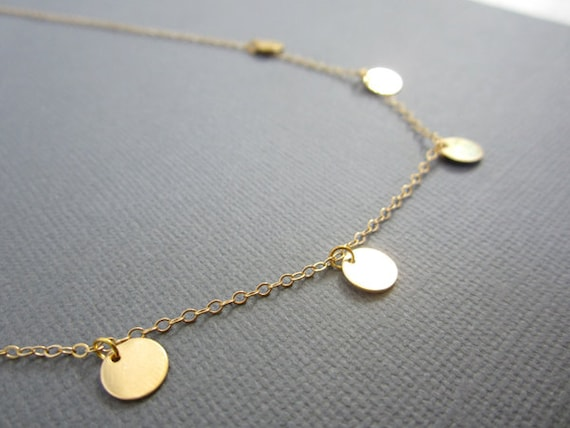 Gold disc necklace small disc necklace 5 gold filled disc aloadofball Gallery