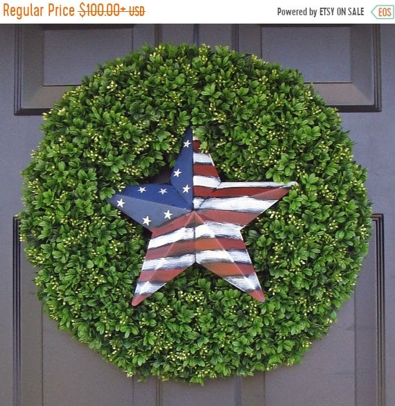 SUMMER WREATH SALE American Flag Star Patriotic Wreath- July 4th Wreath- July 4th Decoration- Patriotic Decoration- July 4th Wreath- Holiday