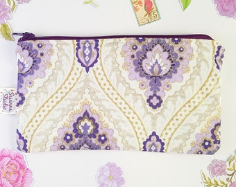 Zipper Pouch Cosmetic Bag Clutch Zipper Coin Purse Gift for Her Pencil Pouch Organiser Purple Damask Gold Glitter Fabric