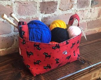 Black Cats Basket Organizer,Storage Basket, Fabric bin, Japanese cotton, House warming gift, Teacher gift, Neko Basket