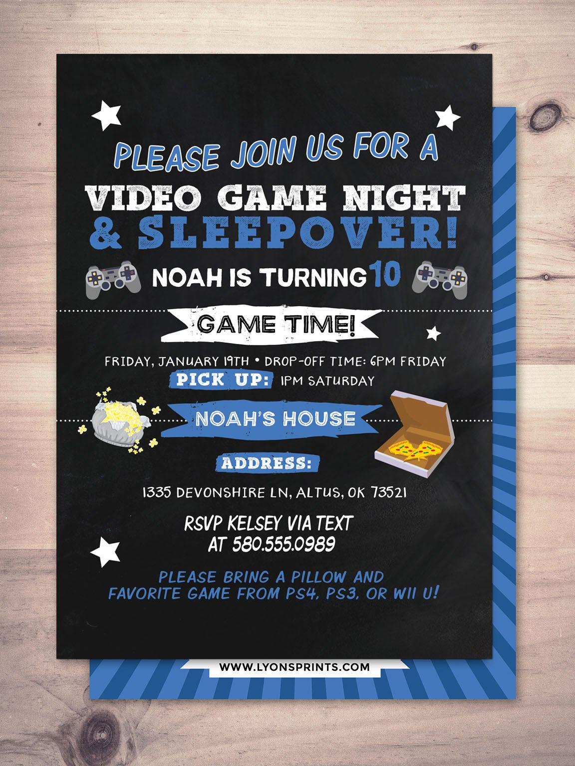 Sleepover party invitation / boy birthday invitations / sleepover ...