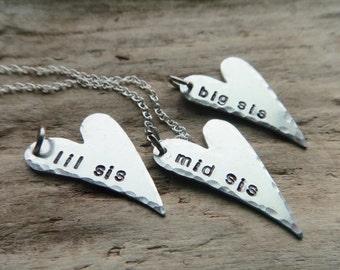 Sisters Jewelry- Big Sis Mid Sis Lil Sis Pendants- Matching Silver Heart Pendant Set - Aluminum Silver Heart Family Sister Pendant Set Three