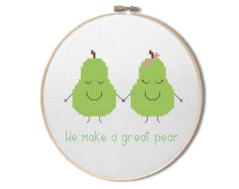 "Pear cross stitch pattern - ""we make a great pear"" - Cross stitch PDF pattern - fruit cross stitch pattern - INSTANT DOWNLOAD"